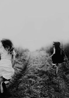 Enjoy life Every Moment. Girls Having fun. Black and White photo