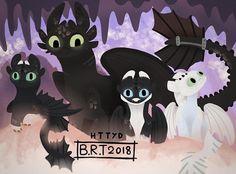Toothless and his baby Night Light dragons Httyd Dragons, Cute Dragons, Httyd 3, Wings Of Fire, Dragon Wallpaper Iphone, Night Fury Dragon, Dragon Birthday Parties, Dragon Family, Dragon Rider