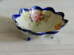 Antique Candy Dish Hand Painted Dish Fluted Edges by nonniesporch