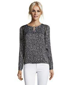 53c8e61fc193c Ellen Tracy   black and white chevron print woven keyhole lace trim blouse    style