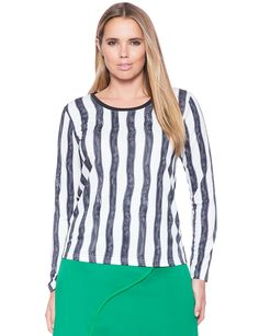 Striped Scoop Neck Tee | Women's Plus Size Tops | ELOQUII