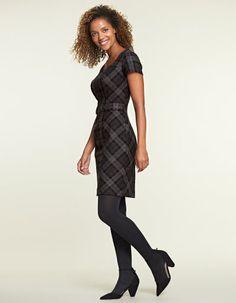 Tab Waist Check Dress