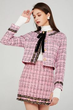 Kate Cropped Tweed Jacket w/Brooch Preppy Outfits, Girly Outfits, Mode Outfits, Preppy Style, Classy Outfits, Tweed Outfit, Tweed Skirt, Pink Tweed Jacket, Tweed Coat