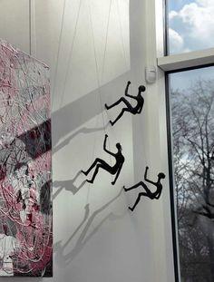 Climbing Man Wall Sculpture Set of 3 climbers - Resin