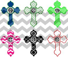 Monogram  Crosses Cut Files for use with Circle Monogram Font and the Silhouette Studio Software, Make the Cut and SCAL DFX / SVG /  pdf by HWHBoutiqueLLC on Etsy https://www.etsy.com/listing/216803816/monogram-crosses-cut-files-for-use-with