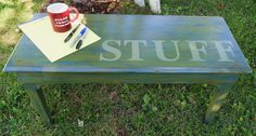Piano Bench. Annie Sloan Chalk Paint collection: Napoleonic Blue, Olive, and Chateau Grey (a lighter olive) Basically, I just painted these colors on in various layers and distressed revealing a little of each of all the colors.