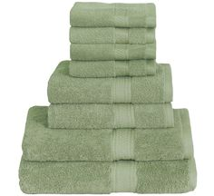 8 Piece Towel Set (Green); 2 Bath Towels, 2 Hand Towels & 4 Washcloths - 100% Cotton By Utopia Towels