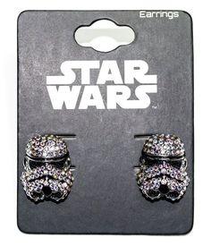 Lindos brincos para fãs de Star Wars!  Brinco de Prata com pingente de pedras do capacete Stormtrooper.
