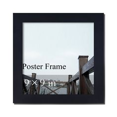 """Furnistars Decorative Black Wood Square 1.25"""" Wide Wall Hanging Poster - 9x9"""