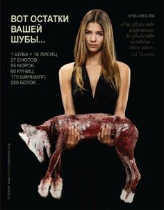 Rosyjska reklama społeczna przeciw zabijaniu zwierząt dla futer.