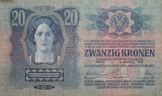 A 20-crown banknote of the Dual Monarchy, using all official languages