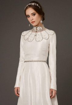dresses silk modest VAZILIKI / long sleeve ivory wedding dress a line wedding gown cover up honorable with glitter ivory silk and linen brautkleid Modest Wedding Gowns, Boho Wedding Dress, Bridal Gowns, Ivory Wedding, Wedding Gown Cover Up, Bridesmaid Dresses, Prom Dresses, Ivory Silk, Bride Look