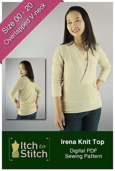 Sewing Clothes Irena Knit Top is a cozy, casual top pattern. The wide, flat-bottom V front band reaches the base of your neck to keep you warm on cold days. If you are looking to sew up a sweater this is a great option.