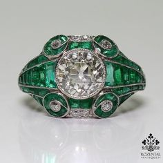 Antique Art Deco Platinum 2.34ct. Diamond & 2.9ct. Emerald Ring