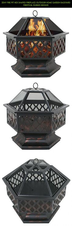 Zeny Fire Pit Hex Shaped Fireplace Outdoor Home Garden Backyard Firepit,Oil  Rubbed Bronze #