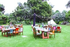 Outdoor reception on the lawn of Gardens House at the Royal Botanic Gardens.  Furniture and styling by gooddayrentals.com.au