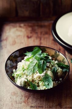 Cous cous with zucchini, mint and feta