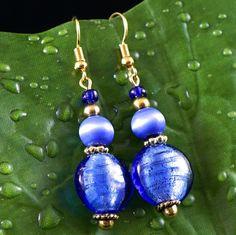 Royal Blue Cat Eyes & Glass Foil Bead Earrings by InScarlettsAttic on Etsy