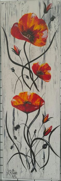 Tableau moderne coquelicots en rouge et noir peinture acrylique sur toile ch - Toile acrylique moderne ...