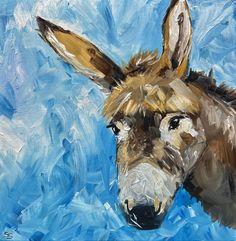 Donkey portrait Farming cute ass horse animal original   Etsy Farm Art, Portraits From Photos, Vintage Art Prints, Portrait Illustration, Donkey, Farming, Lion Sculpture, Horses, Oil