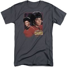 Star Trek/Lieutenant Uhura Short Sleeve Adult T-Shirt Tall in Charcoal