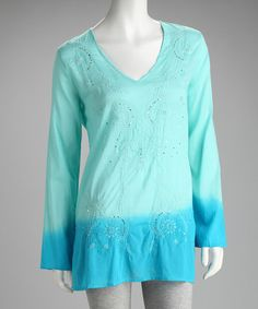 Take a look at this Tokyo Collection Blue Embellished Tunic by Tokyo Collection on #zulily today!