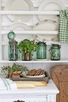 Vintage green jars, dough bowl, and ironstone!