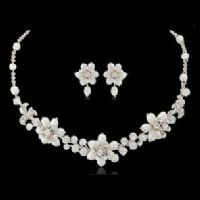 EXQUISITE PEARL NECKLACE SET - SILVER - NECKLACE AND EARINGS - BRIDAL JEWELLERY