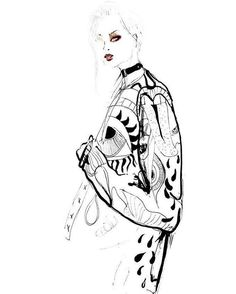 Night drawings 🌙 #fashion #fashionillustration #illustration #drawing #sketch #art #design #fashiondesign #fashionblog #girl #makeup #print #jacket #blackandwhite #pattern #trendy #cool #urban #pencilart #ink #watercolor #colorsplash #sexy #model #outline #contrast