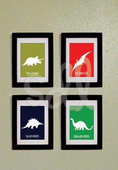 Printable PDF Set of Four Dinosaur Prints 5x7 by DeLamour on Etsy