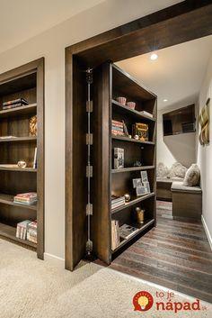 Hidden Door For Home Design Secret Door With Cabinets Attic Renovation, Attic Remodel, Basement Remodeling, Remodeling Ideas, Basement Ideas, Remodeling Companies, Basement Bars, Bedroom Remodeling, Gray Basement