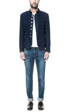 "New ZARA ""Linen blazer with toggles"" – Mens, size M, military jacket"