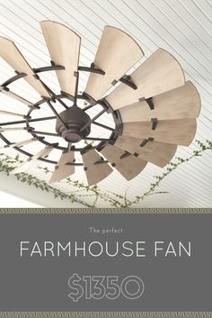 This is an awesome look - A Windmill with Bronze accents. Considered an Outdoor Ceiling Fan but it would look great inside too. Diy Home Decor Rustic, Farmhouse Decor, Modern Farmhouse, Farmhouse Style, Farmhouse Lighting, Windmill Ceiling Fan, Windmill Decor, Patio Fan, Backyard Patio