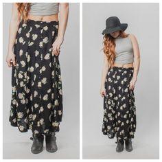 Vintage 90s GRUNGE FLORAL ankle length skirt// Floral 90s button up skirt…