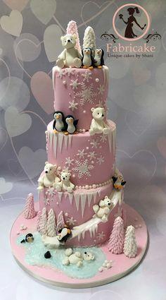 Polar Bears And Penguins Cake Polar bears and penguins cake Cupcakes, Cake Cookies, Cupcake Cakes, Penguin Cakes, Bear Cakes, Christmas Cake Designs, Christmas Themed Cake, Beautiful Birthday Cakes, Fancy Birthday Cakes