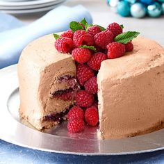 Chocolate-Raspberry Angel Food Torte Recipe -Here's a classic angel food cake dressed up in its Christmas best. This no-fuss torte tastes as great as it looks.—Lisa Dorsey, Pueblo, Colorado