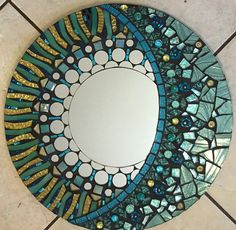 Aqua and pale gold Glitter Glass Mosaic Mirror by SolSisterDesign Stained Glass Mirror, Mirror Mosaic, Mosaic Wall, Mosaic Glass, Mosaic Tiles, Glass Art, Mosaics, Sea Glass, Moon Mirror