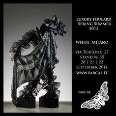 Parcae, luxury foulard, is going to White, in Milan (stand 35) Sep. 20-22 2014 Visit www.parcae.it #fashion #art #chiffon #trend #madeinitaly #foulard #islamic #islamicsize #woman #chic #silk #satin #tradition #foulardaddicted #foulards #style #moda #modaitaliana #fashionweek #elegance #wishlist #carré #islamicsizes #luxury #black #white #shopping #georgette #beautiful #instafashion #fashionblog #fashionista #instastyle #scarf #scarves