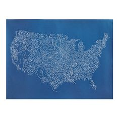 Nina Montenegro's intricate map of the continental United States is filled with a lattice of the hundreds of rivers that flow through the country, binding the states together.