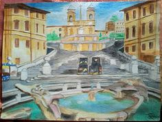 Spanish steps landscape water colors painting hand made on paper 35X45 cm ca.