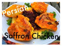 This Persian Style chicken is tender, juicy, and fragrant with a unique blend of spices like saffron, tumeric, and Advieh. Only minutes to transform chicken into an exotic meal on your stovetop! Real Food Recipes, Vegetarian Recipes, Cooking Recipes, Chicken Flavors, Chicken Recipes, Saffron Chicken, Middle East Food, Lebanese Recipes