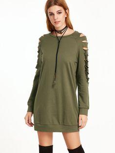 Olive Green Ripped Raglan Sleeve Sweatshirt Dress