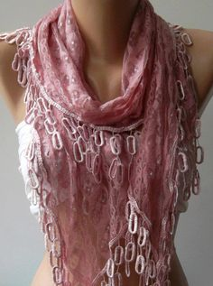 Pink Lace and Elegance Shawl / Scarf  with Lace Edge by womann,