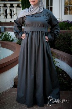 Neutral Gray Modest Long Dress with Pleated Details - $45.50 : Plus Size Muslimah :: Plus Size Islamic Dress for Women, plus size Islamic clothing, plus size abaya, plus size modest clothes, ankle length skirt, full length dress, Plus size Islamic dress for women. Get trendy Islamic clothing in plus sizes, plus size abayas, plus size jilbabs, and more.
