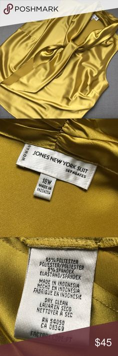 Jones New York sleeveless tie blouse Softest poly / spandex blend blouse in a deep rich gold. Dry clean. It looks fantastic with the black and gold sweater next to it in my closet. Make an offer on both or bundle it together for extra savings and shipping. Jones New York Tops Blouses