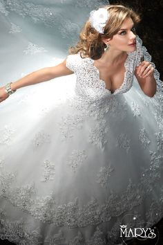 Mary's Bridal 2016 - Embellished, fairy tale cap sleeve ball gown.