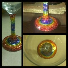 Rainbow bedazzled wine glass! Check out @coco_luxee on instagram!