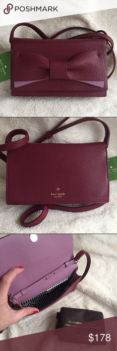 "NWT Kate Spade Eden Lane Jacinda Crossbody Bag Brand new with tags. Color: merlt. This crossbody bag is embellished with a leather bow. Both pretty & practical, it's roomy enough for the essentials yet so petite you can where it almost anywhere. Soft pebbled leather with matching trim. 14k light gold plated hardware. Bookstripe printed on poly twill lining. 4.5"" H x 7.4"" W x 1.4"" D. Reasonable offers are welcome! ✨ kate spade Bags Crossbody Bags"