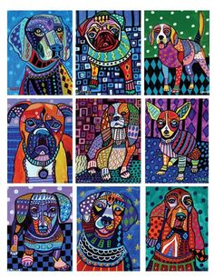 off - pop art dog ACEO card print set - dog lovers gift Dog Pop Art, Dog Art, Coloring Book Art, Ecole Art, School Art Projects, Dog Paintings, Art Club, Art Plastique, Art Pages