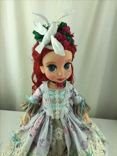I repaint & made new clothes Original Disney animator doll little mermaid Ariel for more of fancy looks. All my creations are sold atPitapats.com #Disney #disney_animators_dolls #littlemermaid #disney_little_mermaid #ariel_doll #modified #repaintdoll #new_doll #handmadedoll #doll_dresses #countess_doll #rococo_dress #rococostyle #countess_style